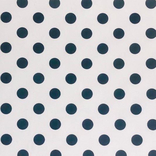 LAS TELAS .. 1 Mtr. Ancho 1.50 Mtrs Tela Lunares Blanco-Negro 5mm